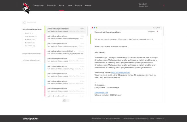 inbox screenshot from the woodpecker app