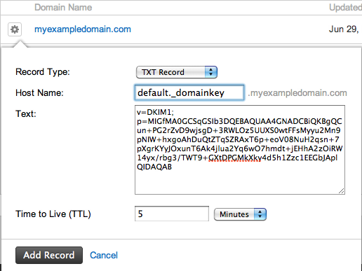 how to add dkim to a domain