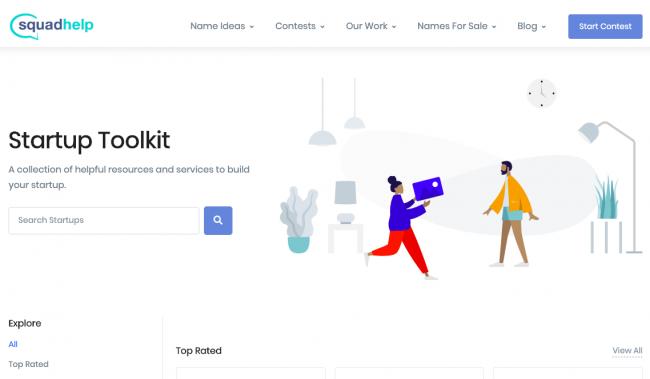 screenshot of squadhelp startup toolkit