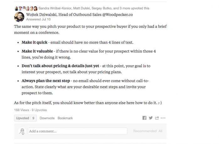 screen shot of quora