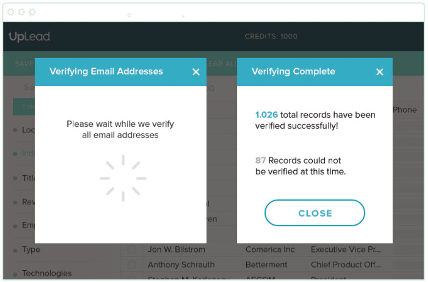 Uplead screenshot how to verify email address