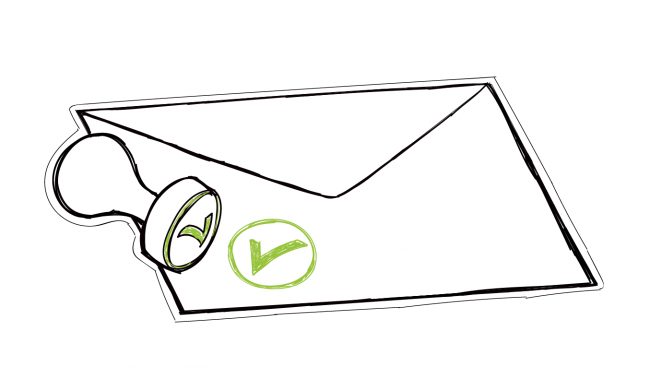 the envelope with a stamp on symbolising approved email
