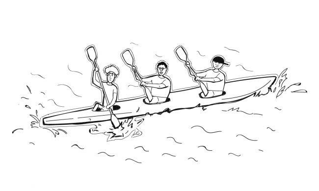 people in boat representing marketing and sales alignment