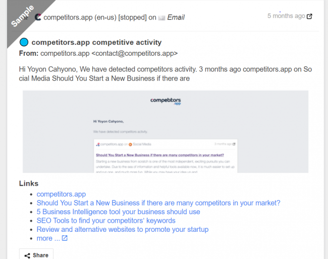 Screenshot of Competitors app