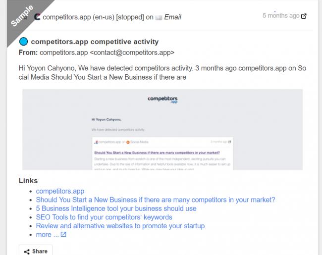 Screenshot of Competitors app