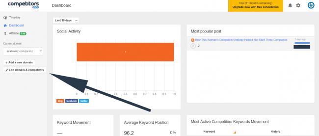 Screenshot of competitors app dashboard