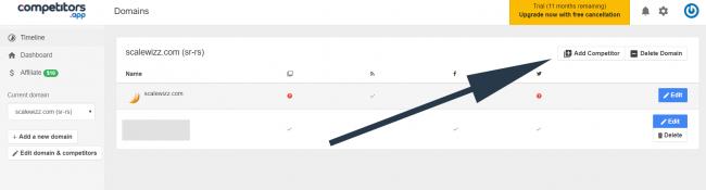 Screenshot of competitor app dashboard