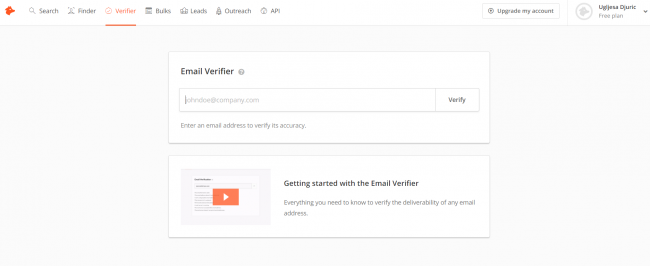 Screenshot of Hunter.io