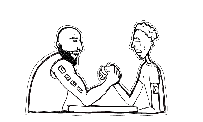 A picture of two men who are arm-wrestling.