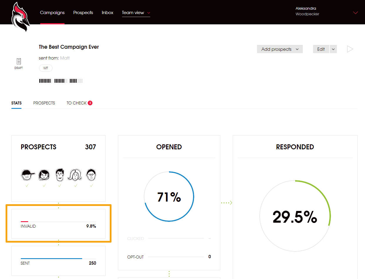 cold email campaign stats in Woodpecker screenshot