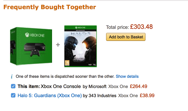 upselling example buy a PS with a game