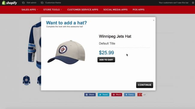 shopify upselling example