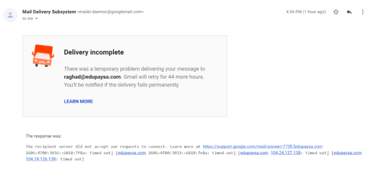 An example of a non-delivery report (Gmail)