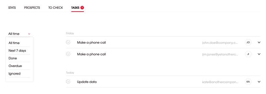tasks tab filter