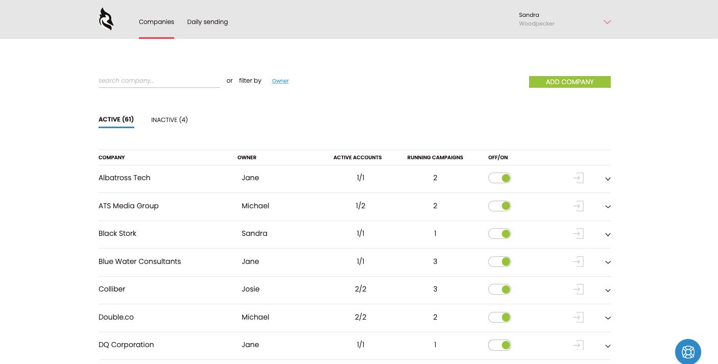 Screenshot of agency panel feature in Woodpecker App